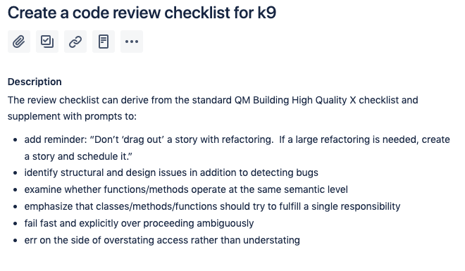 Story to create a code review checklist